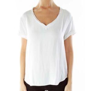 Cloth & Stone White Casual V-Neck Short-sleeve